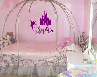 Disney Castle Wall Decal   Tinkerbell Wall Decals  Disney Decal  Custom  Name Decal Part 56