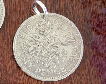 wedding boquet charm, sixpence bridal gift, wedding sixpence charm, coin charm, good luck bride flower bouquet charm coin keepsake for bride