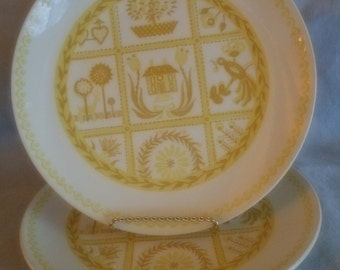 2 Royal China Dinner Plates -  Vendome Pattern? - Yellow and White Mid Century Plates