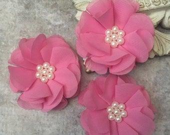 Medium pink flower, chiffon flower, pearl flower, fabric flower, headband flower, supply flower, ballerina flower