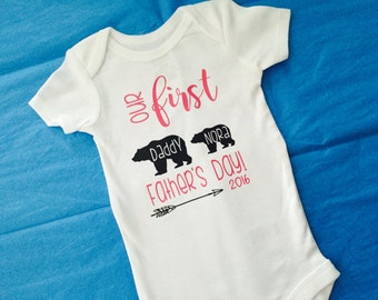 Our first Father's Day. Father's Day baby. Baby Father's Day. First Father's Day. Father's Day gift. Baby girl. Any color!