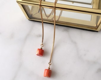 """Coral threader earrings//14k gold plated threaders//coral//5"""" length"""