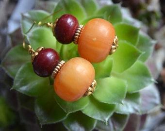 Beautiful recycle Tibetan style resin bead beads handmade earrings