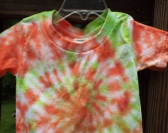 Toddler Tie Dye Shirt, 2T Tie Dye TShirt, Toddler Hippie Shirt, 24M Tie Dye, Orange and Green, Toddler boys, Toddler girls, 2 year old gift