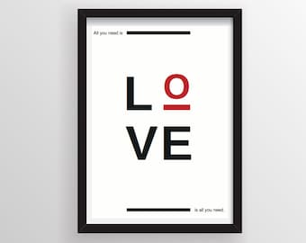 All you need is love print, Wall decor print, Quote poster, Quote art print, typography print, Modern poster.