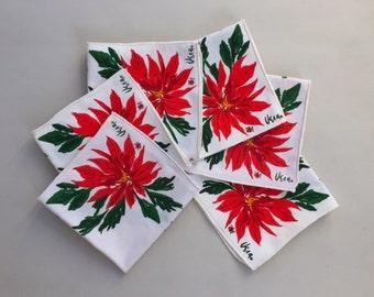 Set of Six Mod Vera Holiday Poinsettia Napkins