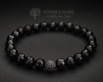 Black Bracelet, Unisex Bracelet , Valentine's Day Gift,  Mens Bracelet, Womens Bracelet, Beaded Bracelet, Stretch Bracelet, Mothers Day Gift