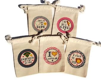 Softball Party Favors Set of 10 Muslin 4x6 Gift Bags Hit Like a Girl Birthday Diamond Field Bat Team Treat Goody Bags Custom #s Available
