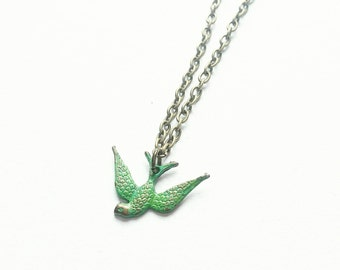 Patina Swallow Necklace. Bronze Swallow Necklace. Bronze Necklace. Bronze Jewelry. Green Necklace. Green Jewelry. Bird Jewelry. Bird Gift.