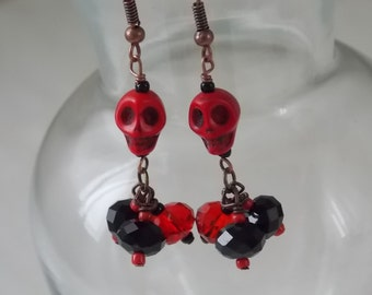 Skull Earrings Pair of Red Howlite Skull Earrings with 3 Drop Black and Red Rondell Cyrstals  E35
