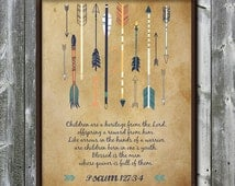 Psalm 127 - Children are a heritage - Arrows – Nursery - Parchment - Bible verse printable - DIGITAL DOWNLOAD - Art print - 8x10 - 11x14