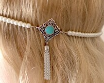 Pearl beaded 1920's flapper/Great Gatsby/wedding headband with amazonite gemstone cabochon on a silver setting & chain tassel