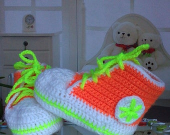 Baby Shower Gift Newborn baby booties, knitted baby booties, baby shoes, handmade, hand knitted baby booties in orange and white color