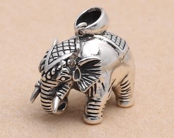Sterling Silver Elephant Pendant, 925 Silver Elephant Pendant, Thai Elephant Pendant, 3D Elephant Oxidized Pendant 15g - E711
