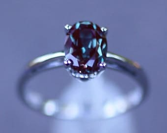 14K White Gold Chatham Alexandrite Solitaire Engagement Ring 6, Set with an 8 X 6MM Oval Chatham Lab Created Alexandrite Gemstone