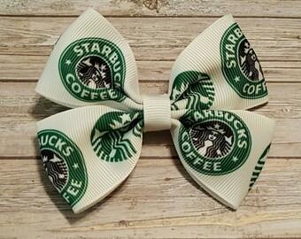 """4"""" Starbucks Logo Hair Bow"""