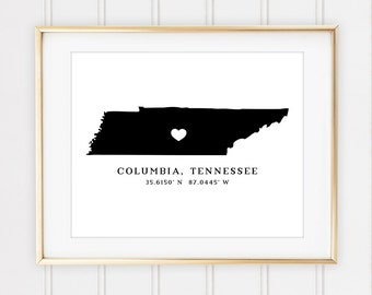 State Print, City or Town Coordinates with Name, Pick Your State, 8x10 Custom Print