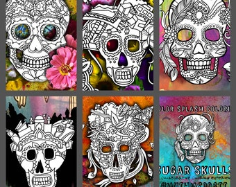 5 Sugar Skull Day of the Dead Original Art Coloring Book pages for Adults: dias de los muertos, Coloring Pages for Adults, Printable prefill