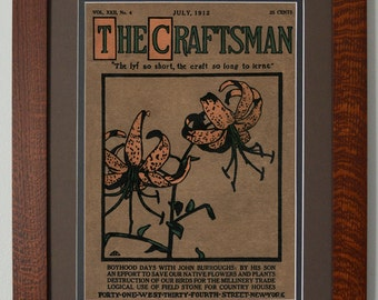 The Craftsman Tiger Lilies Mission Style Art in Quartersawn Oak Frame
