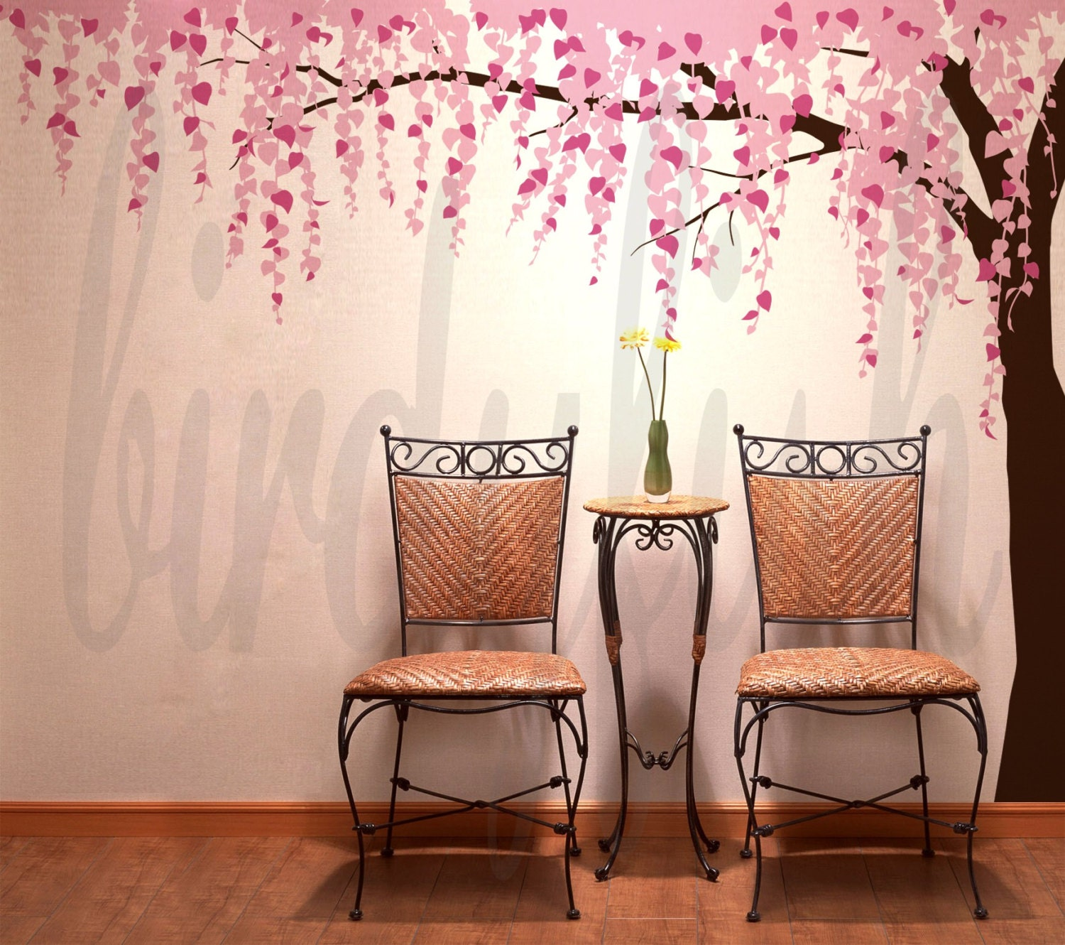 Cherry blossom wall decals tree decals baby nursery by for Cherry blossom tree wall mural