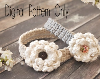 Crocheted Baby Headband Pattern, Headband Pattern, Crocheted Headband Pattern,  Crocheted Flower Headband Pattern