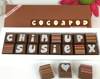 Get Well Soon Box of Chocolates - Personalised Get Well Soon -  Milk Chocolate - Dark Chocolate - Personalised Chocolates - Get Well Soon