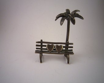 Sterling silver miniature lovers hearts bench under palm tree vintage
