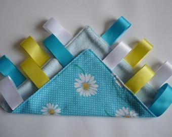 Minky Taggie Blanket blue spotty with white flowers