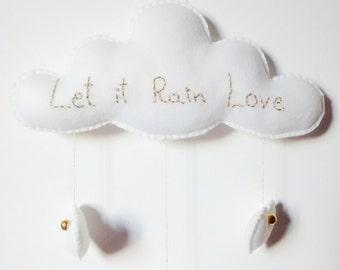 ON SALE! Love Cloud Mobile 'Let it Rain Love' - Ready to Ship! | Christmas | Nursery Decor | Baby | Kids