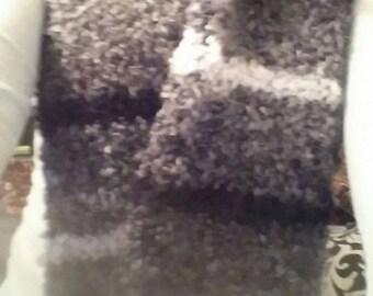 Gray Striped Scarf