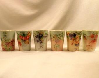 Set 6 Porcelain Tumblers, Juice or Cider Cups, Berries, Leaves