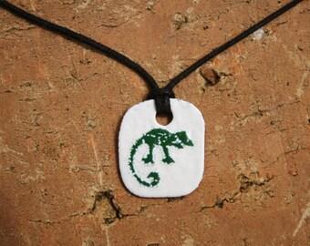 Teeny Weeny Chameleon, enamel pendant, enamel jewelry