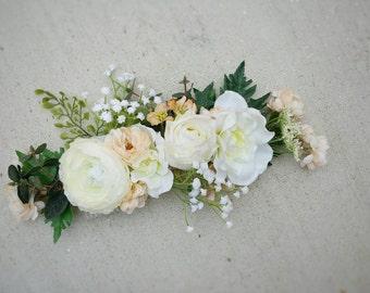Floral Crown, Wedding Crown, Flower Hairpiece, Succulent Crown, Headpiece, Boho Crown, Whimsical Crown, Silk Flower Crown, Rustic