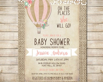 Hot Air Balloon Invitation Baby Girl Shower Invitation, Shabby Chic, Pink _149