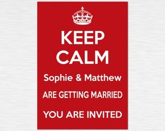 Our 'Keep Calm' Collection - Personalised Invitations - White on Red - multiple packs - personalised