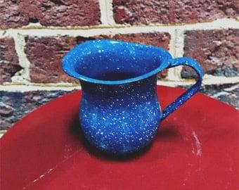 Blue speckled enamelware/ graniteware/ splatterware small pitcher