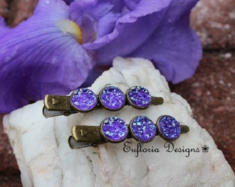 Druzy Alligator Hair Clips, Hair Clamp Clips, Jaw Clips, Lilac Purple Druzy Barrette, Drusy Alligator Clips, Druzy Hair Jewelry Gift for Her