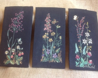 Swedish Floral Embroidery, Set of Three