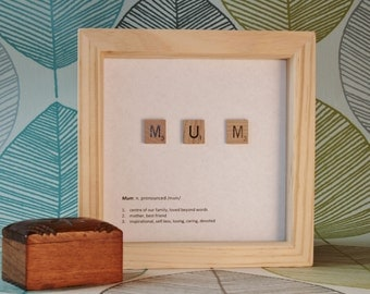 """Gifts for dad and mum - Handmade gifts, Scrabble word art, dad gifts, mum gifts, 6x6"""" FRAMED"""