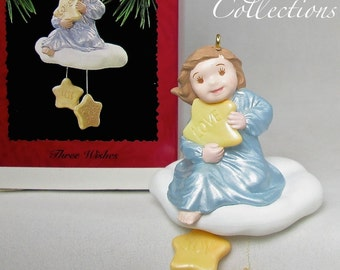 1995 Hallmark Three Wishes Angel Keepsake Ornament Peace Love Joy Religious MIB Vintage Christmas Cloud CUTE!