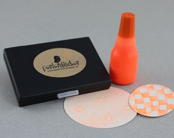 Neon Orange Set - Stamp Pad + Ink (refillable)