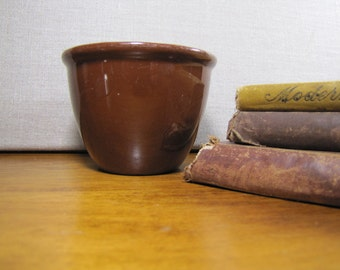 Brown Pottery Custard Cup - Made in Germany