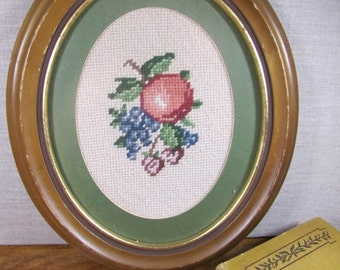 Vintage Needlepoint - Oval Frame - Fruit and Berries