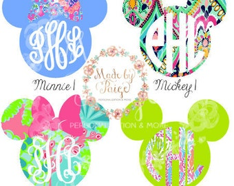 Lilly Pulitzer Inspired Mickey/Minnie Decal