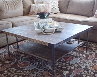 Rustic Coffee Table, Square Industrial Coffee Table, Pipe Coffee Table  Rustic, Living Room