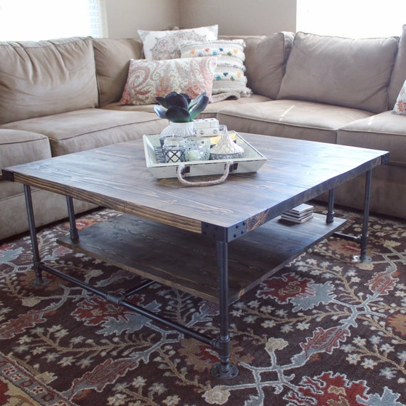 Industrial style coffee table with storage pipe and wood for Furniture classics ltd coffee table