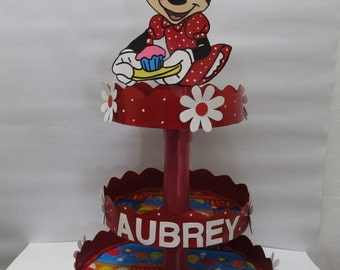 Personalized Minnie Mouse Red Dress Cupcake Stand/Centerpiece