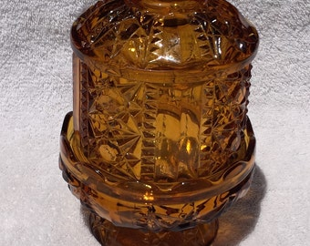 Amber Brown Glass Candle Jar Vintage Amber Glass Covered Candle Holder Star Burst Design Pedestal and Vented Cover Votive Candle