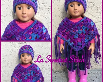 SALE*American Girl Hat and Poncho Set
