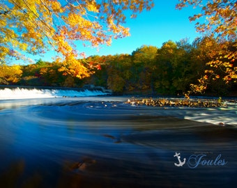 Limited Edition ~ Autumn Swirl, Albion Dam, Lincoln, Rhode Island, Autumn, Fall, Foliage, Waterfall, Fine Art Canvas, New England